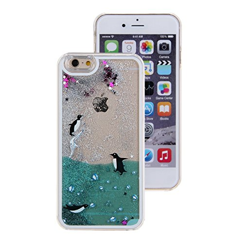 UCLL Iphone 7 Case, Iphone 7 Liquid Case, Cute Bear Dolphin Giraffe Cartoon Design Case for Iphone 7 Cool Quicksand Moving Stars Bling Glitter Flowing Case with a Screen Protector Gold Rose (Black)
