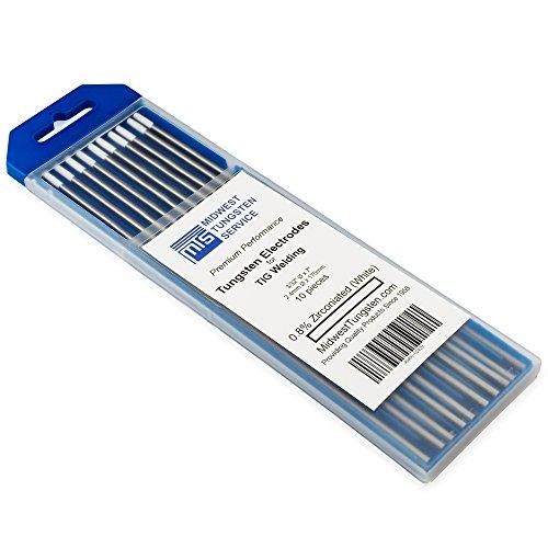 "TIG Welding Tungsten Electrodes 0.8% Zirconiated 3/32"" x 7"" (White, WZ8) 10-Pack by Midwest Tungsten Service"
