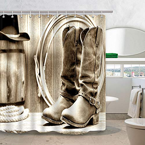 (DYNH Western Shower Curtain, American Traditional Style Sports Team Cowboy Saddle Wood Ranch Barn, Polyester Fabric Bathroom Decor, Bath Curtains Accessories, with Hooks, 69X70 Inches)