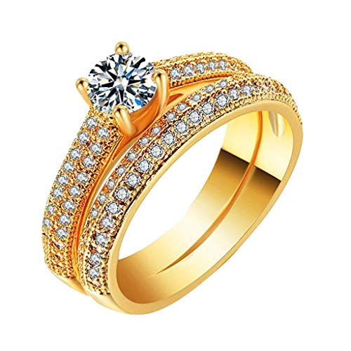 (chenJBO Silver Full Diamond Microinlaid Zircon Female Ring Personalized Metal Jewelry Gift Eternity Bands for Women(US Size 5-11) (6, gold))
