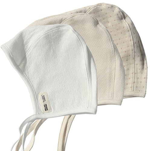 Sweet Layette Baby Bonnet Cap - Baby Pilot Hat - 100 % Organic Cotton (3 Color Set) (Baby Bonnet)