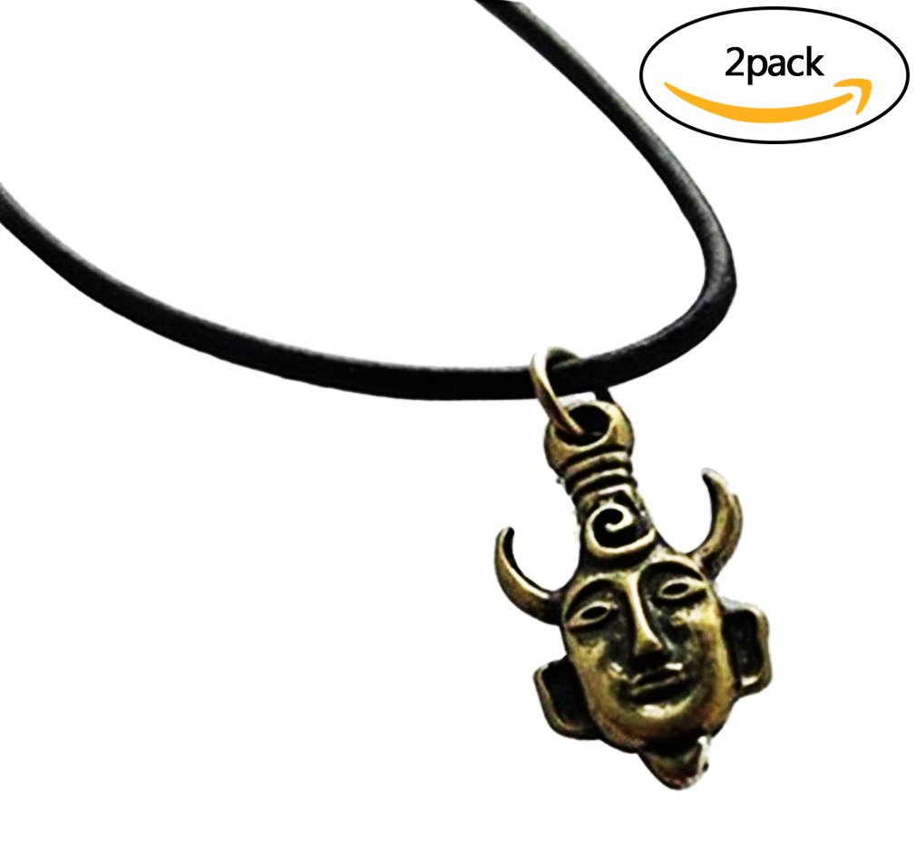 2pcs Supernatural Dean Winchester Mask Amulet Demon Pendant Necklace