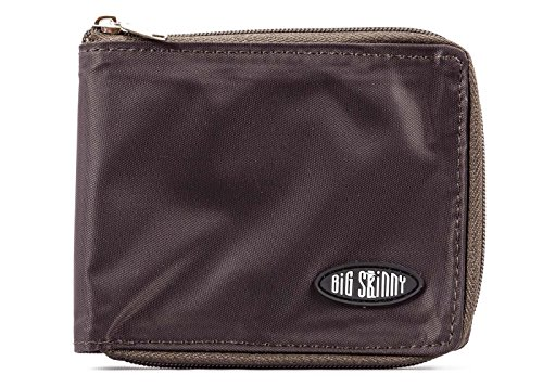 Big Skinny Men's Zippered Bi-Fold Slim Wallet, Holds Up to 25 Cards, Brown ()