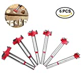 TOOLTOO Forstner Drill Bits Set – Round Shank High Speed Steel Hole Saw Set Auger Opener Drilling Wood Plywood MDF Acrylic, Set of 6, 0.6''/0.8''/0.9''/1''/1.2''/1.4''