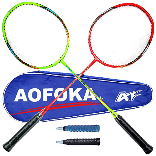 L.E.D STEP Badminton Rackets Light Racket Set from Tournament Professional 2 Carbon Fiber Shaft Racquets Included Including 1 Badminton Bag/2 Overgrip – DiZiSports Store