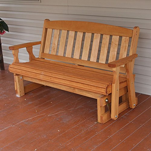 Amish Heavy Duty 800 Lb Mission Pressure Treated Porch Glider (5 Foot, Cedar (Cedar Glider Bench)
