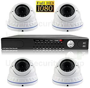 USG 1080p HD-SDI Security Cameras Kit: 4x Dome Vari-Focal Cameras + 1x 4 Channel DVR: Home, Business, Outdoor, Indoor, IR LEDs