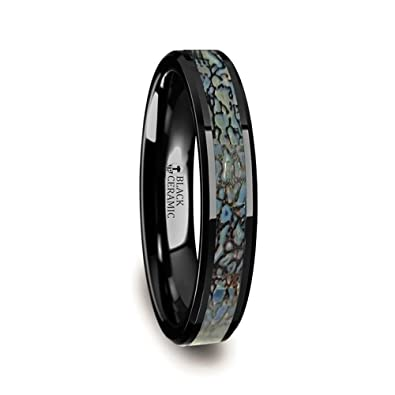 Permian Polished Flat Style Black Ceramic Wedding Ring With Blue
