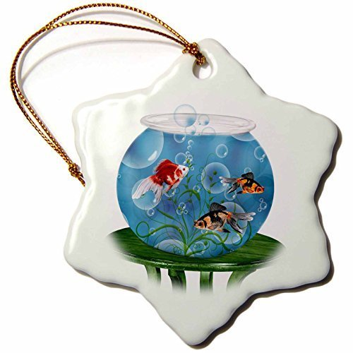 Snowflake Ornament Goldfish in A Bowl on A Small Table for Persian New Year - Snowflake Ornament, Porcelain, 3-Inch