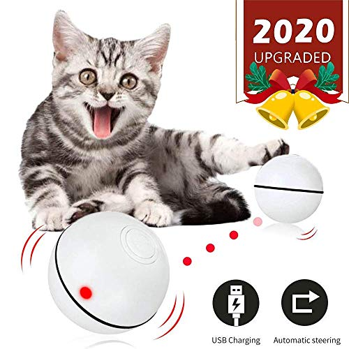 Smart Interactive Cat Toy Ball, Upgraded Version Track Automatic Rolling Kitten Toys, 360 Degree Self Rotating Ball with…