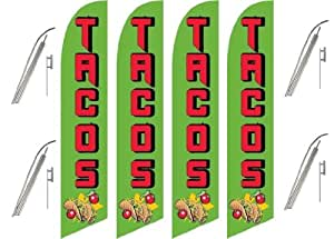 Four Full Sleeve Swooper Flags w/ Poles & Spikes TACOS Green Red Black w Tacos Pic