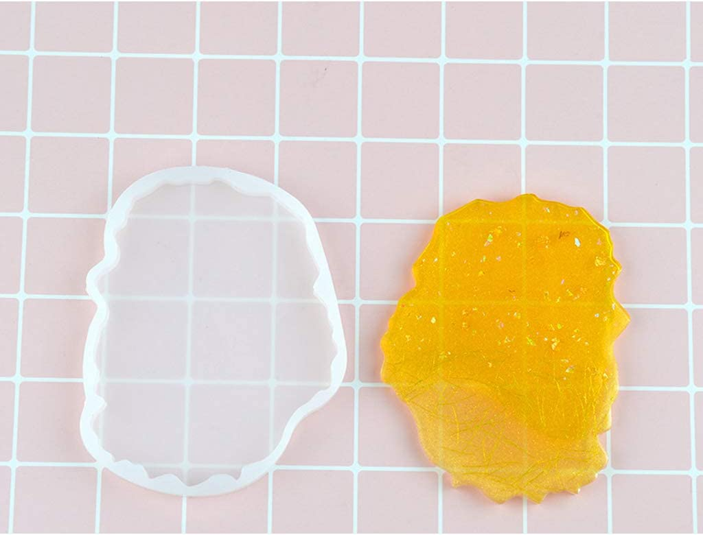 TIAN-K Large Irregular Wave Round Coaster Mold Silicone Resin Cement Casting Mold Tools for Making Polymer Clay Resin Epoxy Crafting