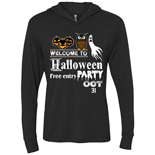 Welcome To Halloween Party T Shirt, Free Entry Racerback Tank Top - Unisex LS Hooded (XL, Black) -