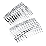 Two Piece Crystal Diamante Design 7cm Metal Hair Comb Set by Other