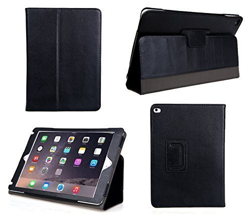 Bear Motion for iPad Air 2 - Genuine Leather Folio Case for iPad Air 2 with Built in Stand (Supports Smart Cover Function) (Black)