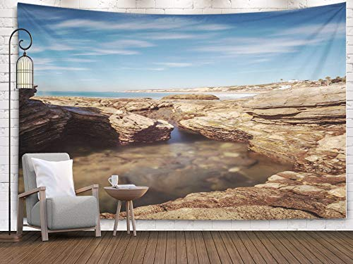 Jacrane Map Tapestry Wall Hanging, Large with 80x60 Inches Shore with Beach Cottages Lining Crystal Cove State Park Beach Right on The Sand an Ocean Art Tapestries for Dorm Bedroom Living Home Decor