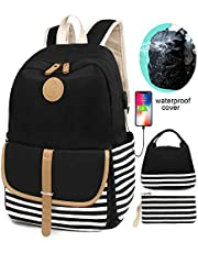 SCIONE USB School Backpacks Set for Women and Teen Girls with Rain Cover