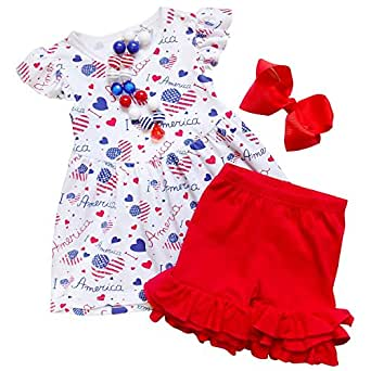 So Sydney Girls Toddler 2-4 Pc Novelty Summer Shorts or Skirt Outfit & Accessory (XS (2T), America Love)