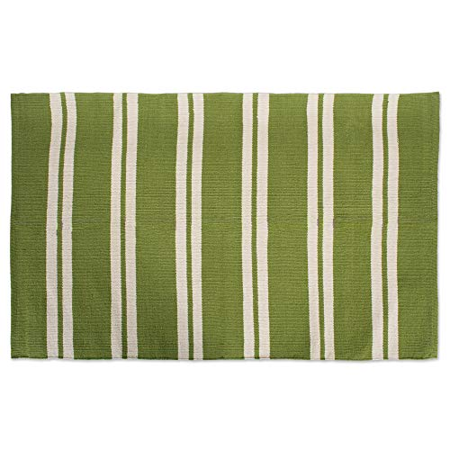 "Cotton Fashion Reversible Indoor/Outdoor Cabana Stripe Woven Area Rag Rug, 30x48"", Unique For Bedroom, Living Room, Kitchen, Laundry, Wash Room, Nursery-Green from J&M Home Fashions"