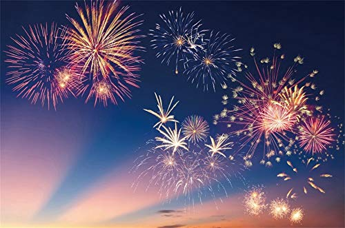 AOFOTO 10x7ft Beautiful Firework Backdrop 2019 New Year Eve Celebration Photography Background Merry Christmas Festival Best Wishes Family Events Gathering Party Studio Prop Vdeo Drapes