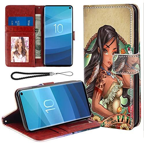 DISNEY COLLECTION Samsung Galaxy S10e 5.8in Wallet Case Disney Princess Pocahontas Tattoo Full Body]()