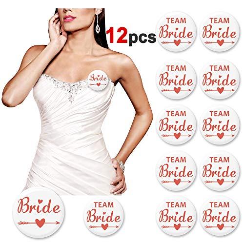 (Konsait Rose Gold Bridal Party Pins Team Bride Buttons- Bachelorette Pins- Bachelorette Wedding Party Buttons Badges - Bridesmaid Gifts Bachelorette Wedding Bridal Shower Party Favors Decor Supplies -)