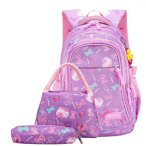 - Fanci 3Pcs Bowknot Cat Prints Elementary Girls School Bookbag Rucksack for Primary Girls School Backpack Set with Lunch Kits