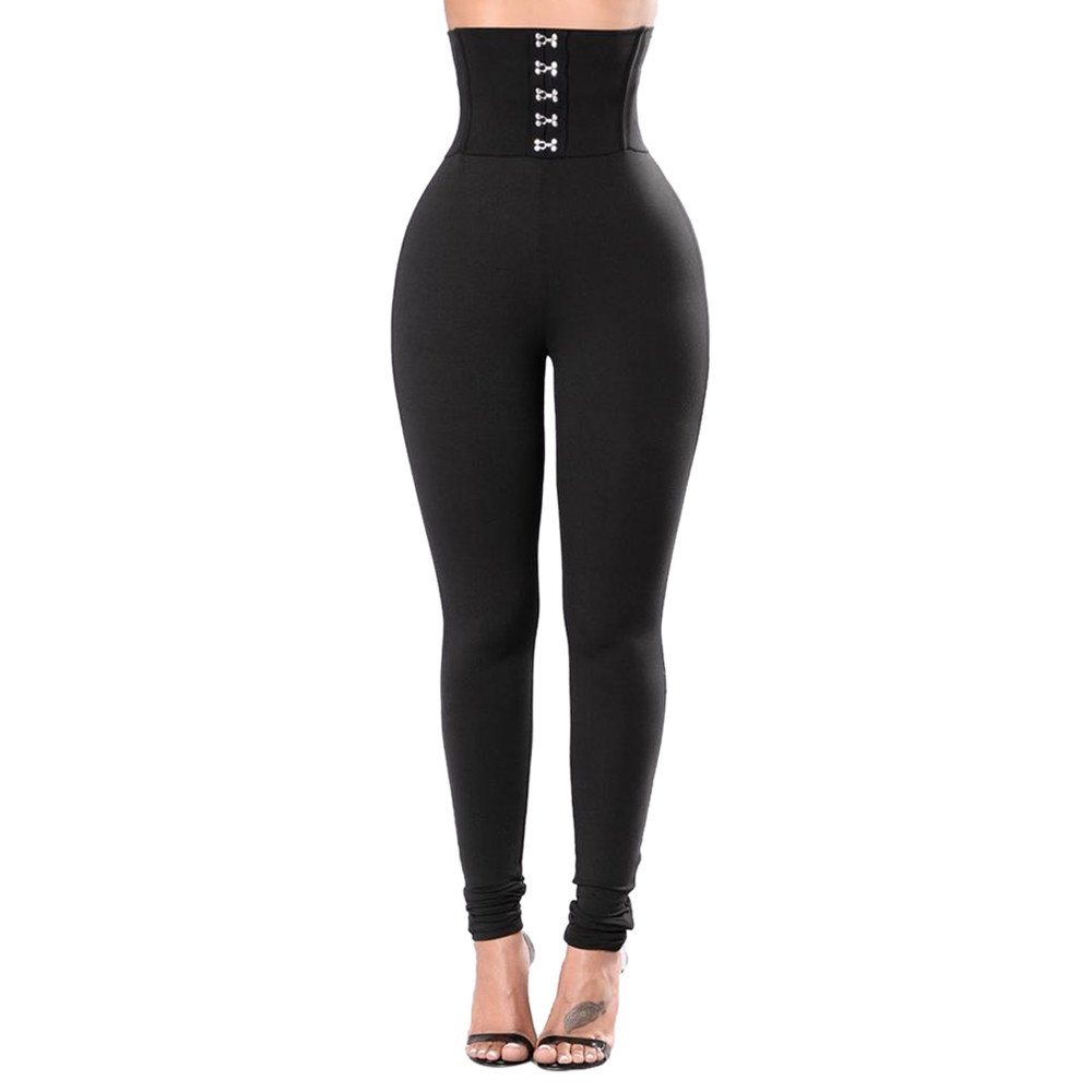 Women's Yoga Pants High Waist Tummy Control Workout Leggings Bandage Pants (S, Black)
