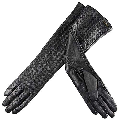 LLIND Home Women 's Leather Leather Gloves Woven Gloves Winter Warm Long Section (Color : Black, Size : Small)
