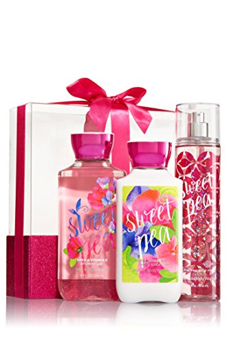 Price comparison product image Bath & Body Works Sweet Pea Wrapped with a Bow Gift Box Set, Shower Gel 10 Ounce, Body Lotion 8 Ounce, Fragrance Mist 8 Ounce