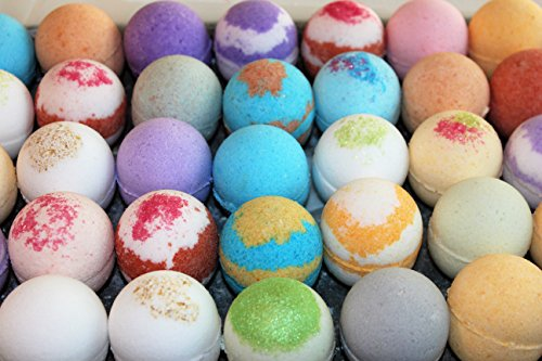 Price comparison product image Handmade Bath Bomb Fizzies Gift Set Basket Box- Individually Wrapped Assorted Scents - Natural Ingredients with Shea & Mango Butter,  Essential and Fragrance Oils for Moisturizing - Lush 2.5 oz ea. (6)