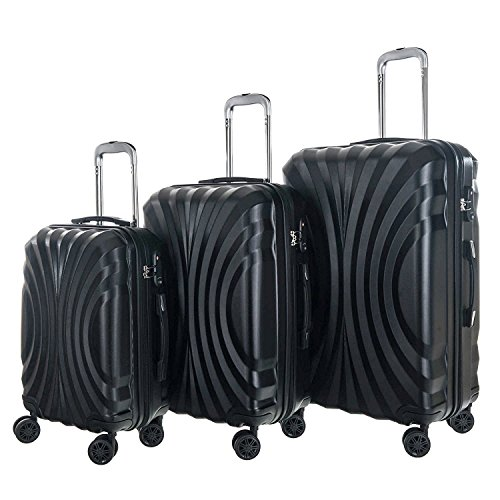 Solid Luggage 3 Piece ABS Rolling Suitcase Set TSA Approved Luggage Locks (Blac k)