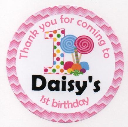 1st birthday design thank you for coming to my birthday party stickers