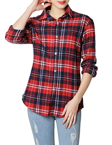 GUANYY Women's Long Sleeve Casual Loose Classic Plaid Button Down Shirt(Red Blue,X-Large) ()