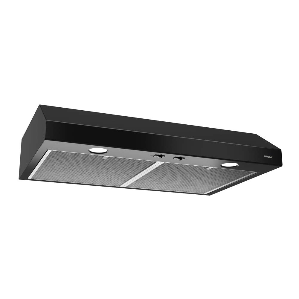 Broan-NuTone BCSD136BL Glacier Range Hood with Light, Exhaust Fan for Under Cabinet, Black, 0.6 Sones, 250 CFM, 36""