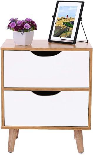 Cloudro Bedside Desk, Assemble Storage Cabinet Bedroom Bedside Locker Double Drawer Nightstand C