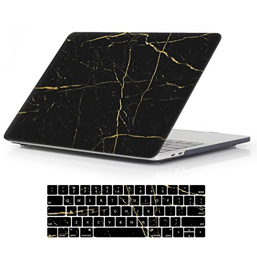 "iCasso Macbook New Pro 13 Case 2017 and 2016 Release Hard Shell Cover For Newest Macbook Pro 13""Retina Model A1706/A1708 with/without Touch Bar and Touch ID with Keyboard Cover (Black Marble)"