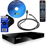 Samsung BD-H6500 4K Upscaling 3D Smart Wi-Fi Blu-ray Player with Remote Control + Xtech Blu-Ray Disc Laser Lens Cleaner + Xtech High-Speed HDMI Cable w/Ethernet + HeroFiber Ultra Gentle Cleaning Cloth