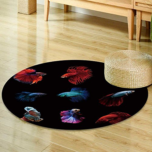 - Small Round Rug Carpet Betta Fish Siamese Fighting Fish Betta splendens Aquarium Moment of Siamese fig Door mat Indoors Bathroom Mats  Non Slip -Round 35