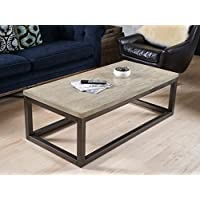 Hives and Honey Haven Home Modern Crosby Mineral Grey Coffee Table, Smoke Grey
