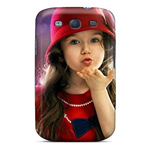 Brookeshops2001 Premium Protective Hard Cases For Galaxy S3- Nice Design - Cute Little Girl Flying Kiss