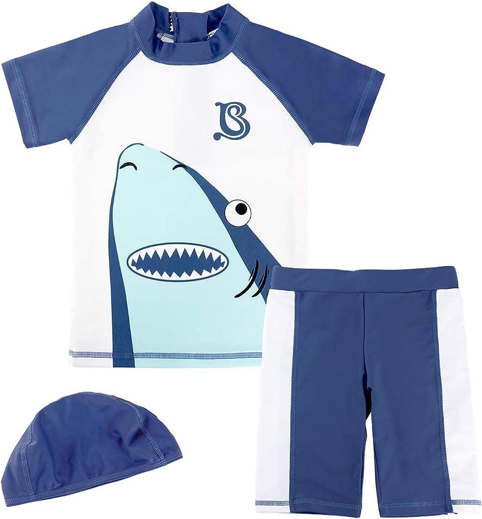 Gogokids Ragazzi 3 Pezzi Costume da Bagno Mare Piscina Completo Maglietta Pantaloncini con Cuffie da Nuoto 1-4 Anni