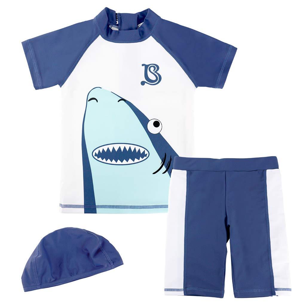 Gogokids Boys 3 Pieces Swimsuits Swim Trunks T-Shirt Blue Swimwear 1-4 Years