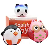 Satkago Squishies Slow Rising, 3 in 1 Scented Squishys Animals Stress Toys for Party Favor ( Owl Panda Penguin )