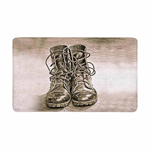 Army Door - InterestPrint Cool Black Leather Army Boots Military Doormat Indoor Outdoor Entrance Rug Floor Mats Door Mat Non-Slip Home Decor, Rubber Backing Large 30