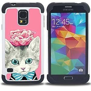 - rose kitty kit kitten cat eyes/ H??brido 3in1 Deluxe Impreso duro Soft Alto Impacto caja de la armadura Defender - SHIMIN CAO - For Samsung Galaxy S5 I9600 G9009 G9008V