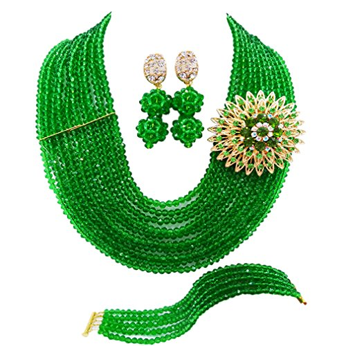 laanc 10 Rows Fashion Costume African Beads Jewelry Set Nigerian Wedding Bridal Jewelry Sets for Women (Glass Green Brooch)