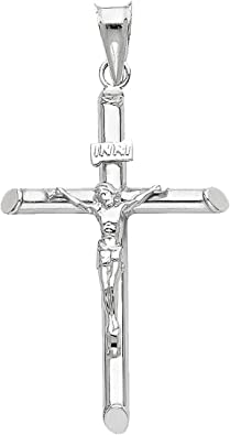 Perfect Size Crucifix Cross Jesus Christ Pendant 14k SOLID White Gold