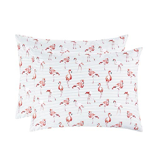 - Wake In Cloud - Pack of 2 Pillow Cases, 100% Cotton Pillowcases, Pink Flamingo Birds with Gray Ticking Striped Pattern on White (King Size, 20x36 Inches)