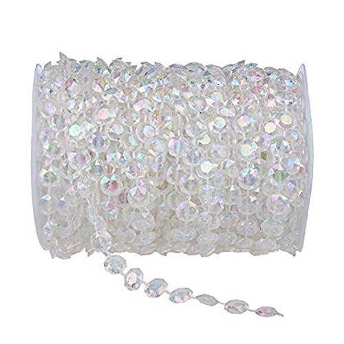 Meihuasheng 99FT(30M) Acrylic Diamond Garland Strands Crystal Beads Curtain Wedding DIY Party ()